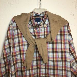 Faconnable Plaid Button Down Collar Size Large